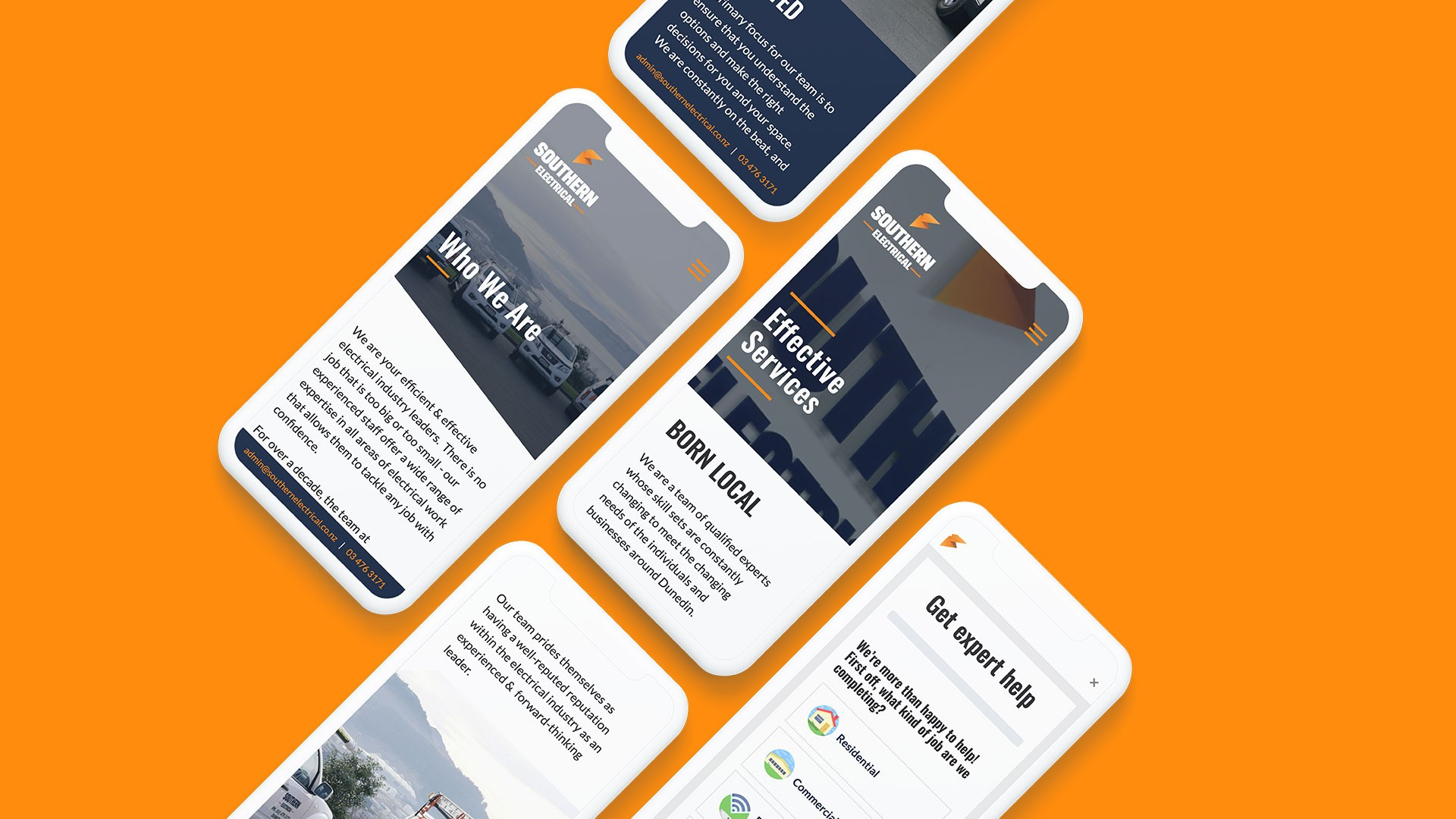 Southern Elect mobile mockup 5 phones