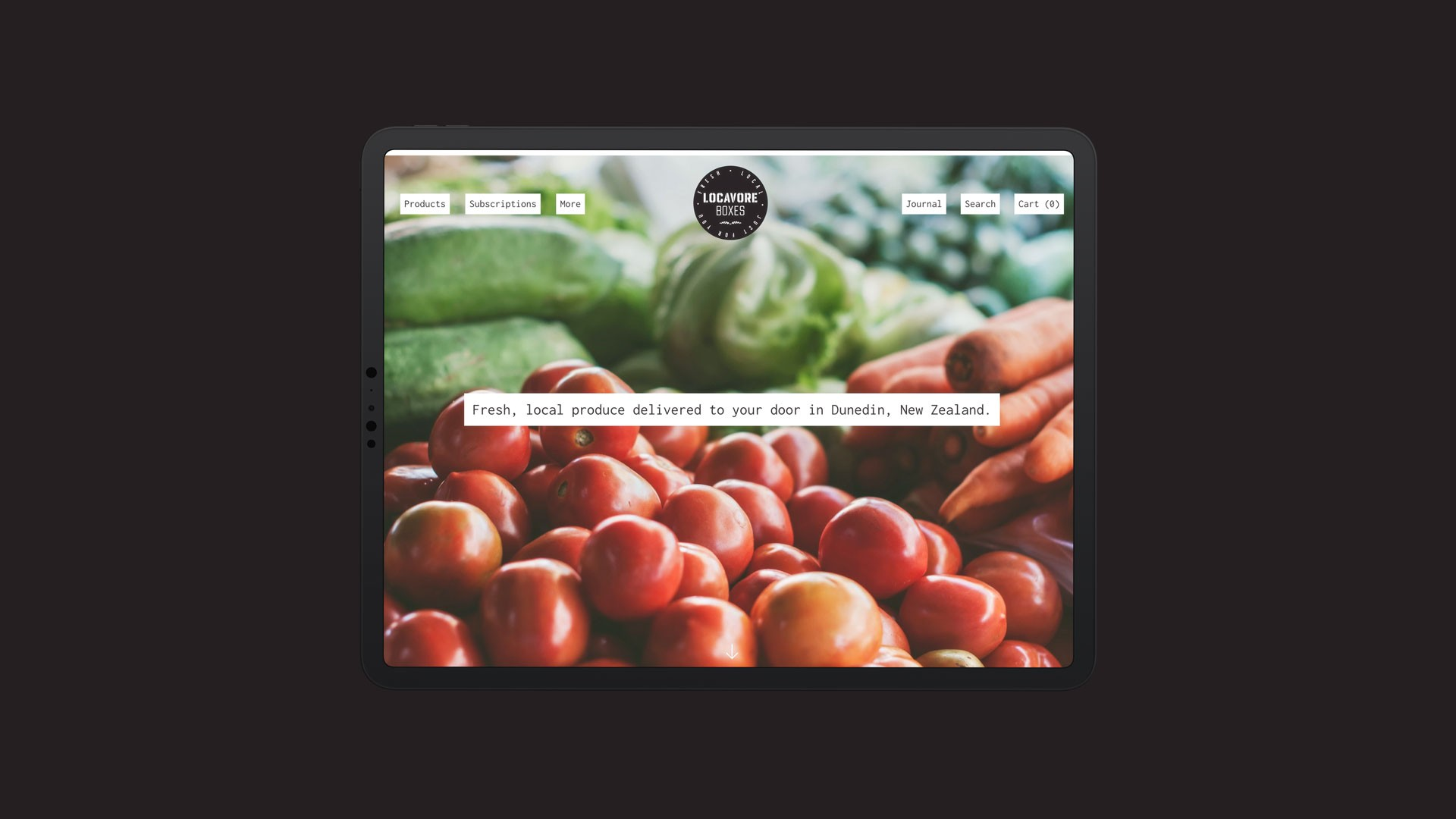 Locavore Boxes 01 ipad mockup dark