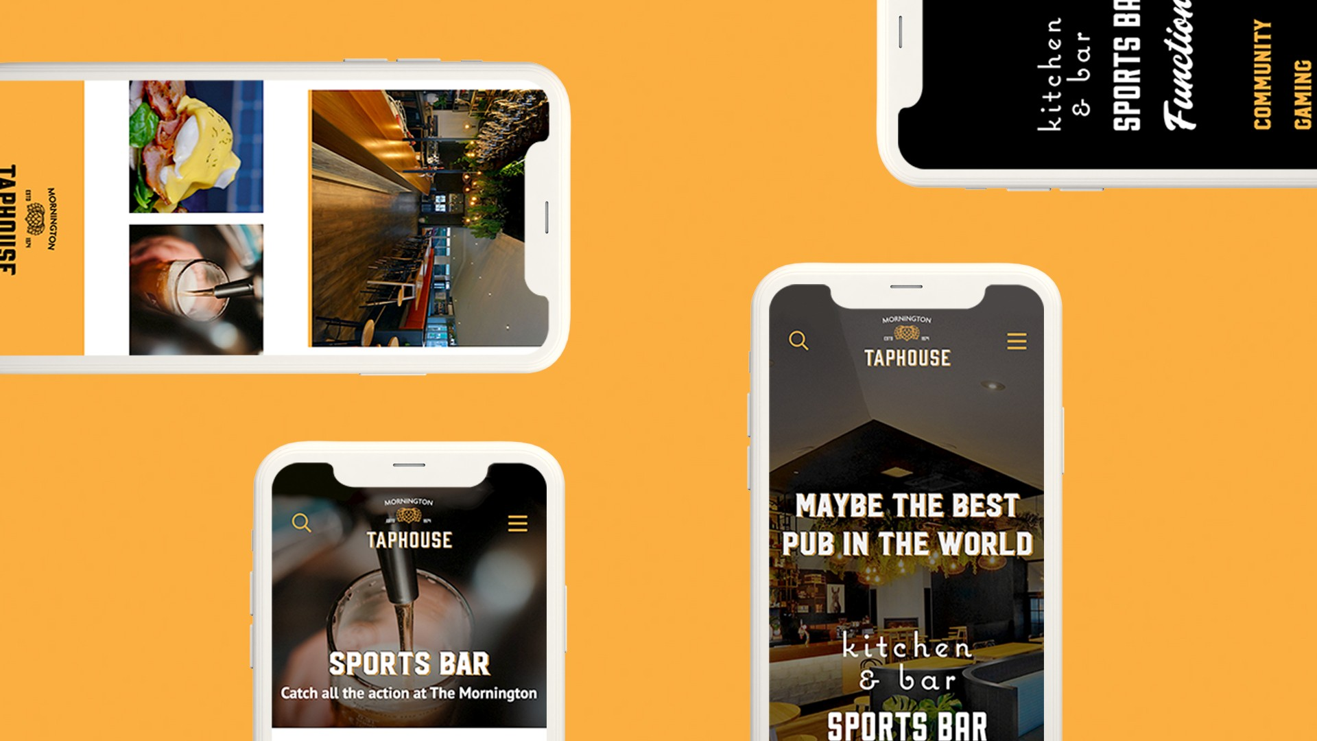 Mornington Taphouse website shown on mobile screens
