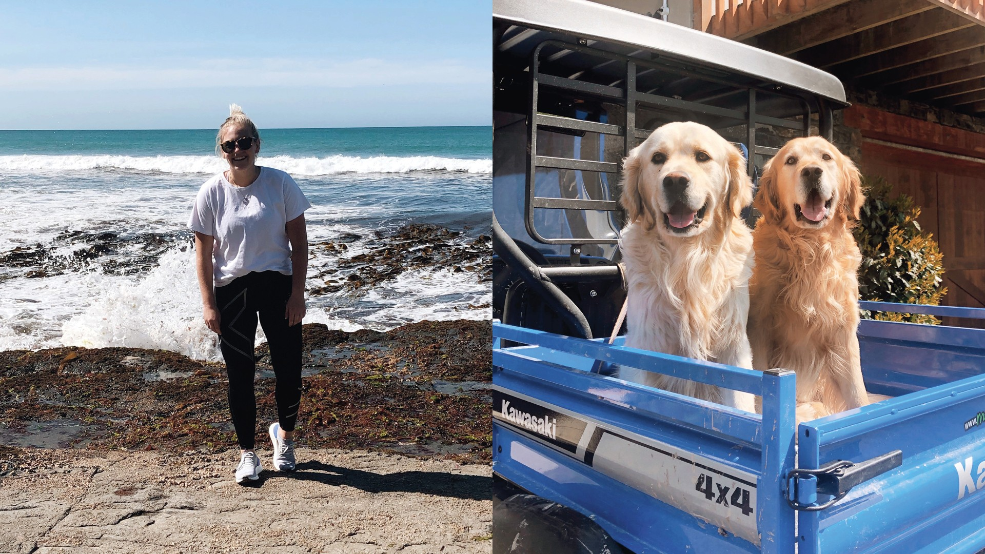 Emma Turner at the beach (left) and Emma's family dogs (right)