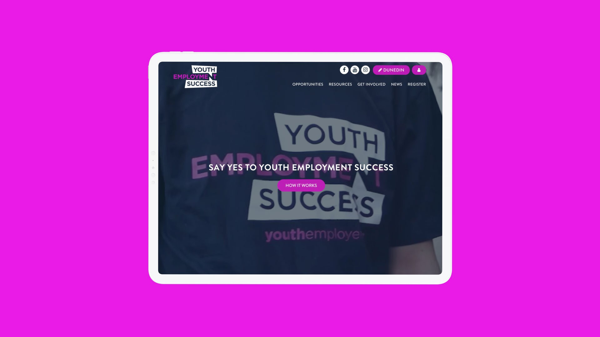 Tablet showing Youth Employment Success homepage