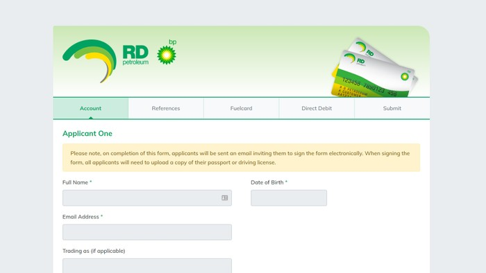 RD Petroleum fuel card application user interface developed by Firebrand