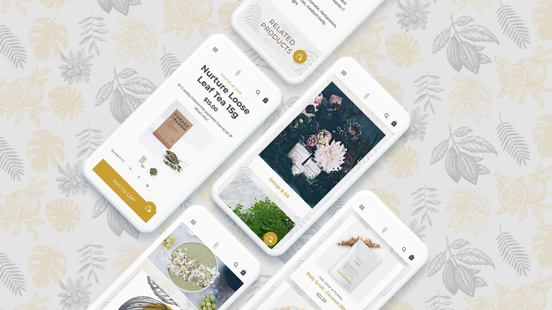 Temple+Co website on smartphone screens with patterned background